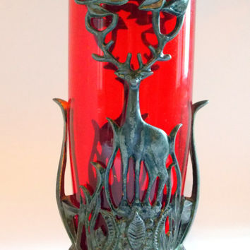 Vintage red vase with deer, Antique vase, Red vase, Glass vase, Metal vase, Bronze deer, Red glass, Rare, vase, vase, USSR, Soviet vintage