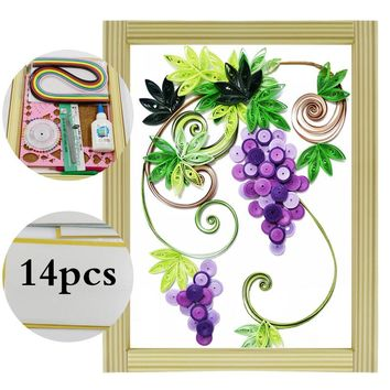 16 colorful Quilling Paper Craft Kits 14Pcs Tool set   Wild grapes Decorating