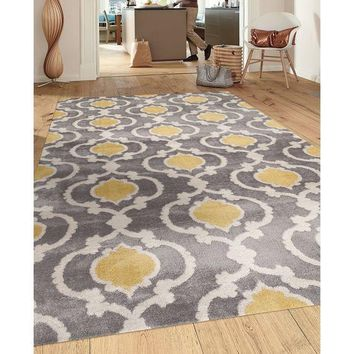 Toscana Moroccan Trellis Grey and Yellow Contemporary Area Rugs
