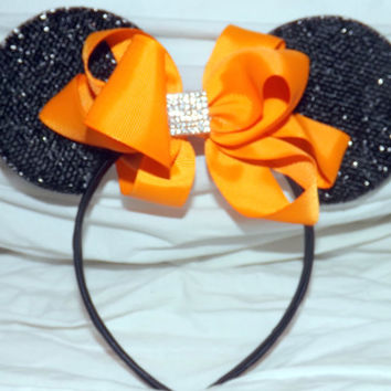 MINNIE MOUSE EARS Headband Black Sparkle with summer coral orange bow accented with faux diamond  luxury summer edition