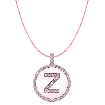 """Z"" Diamond Initial 14K Rose Gold Disk Pendant (0.53ct)"