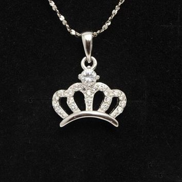 ESBONG Jewelry Shiny Gift Stylish New Arrival 925 Silver Accessory Crown Lock Necklace [8379704199]
