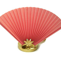 Vintage Fan Table Lamp Pink Accordion Fan and Gold Flower Base