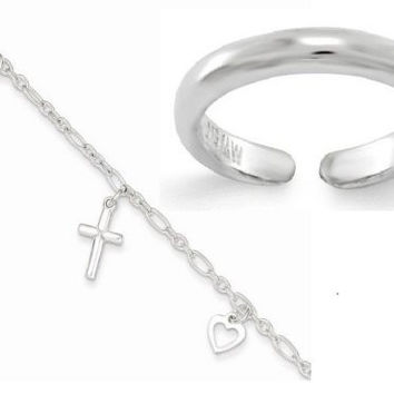 Beach Set of Sterling Silver Anklet with Sterling Silver Toe Ring
