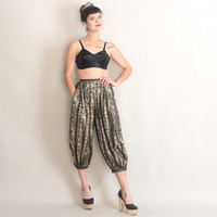 80s Cropped HAREM PANTS | Vintage 1980s Black & Metallic Gold High Waisted Ethnic Trousers | xs/s