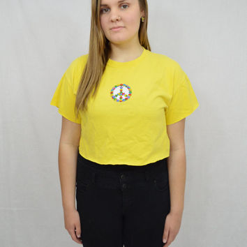 Peace Shirt Hippie Soft Grunge Crop Top Peace Sign Patch Large Oversize Yellow tshirt Womens Clothing Rainbow Colorful Embroidered Patch