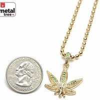 """Jewelry Kay style Men's Fashion Iced Out Weed Marijuana Pendant 20"""" Ball Chain Necklace MMP824 GGR"""