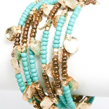 Turquoise Gold Disc Coil Bracelet