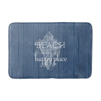 Beach Shell Vintage Blue Wood Bath Rug
