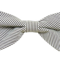 Kingsport Stripe - White/Black (Cotton Pre-Tied Bow Tie) from TheTieBar.com - Wear Your Good Tie Everyday