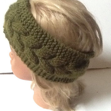 Knit Headband  - ear warmer - hairband - winter headband - green - olive color - stocking stuffer - cable knit - christmas gift