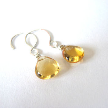 Beautiful High Quality Citrine and Sterling Silver Earrings November Birthday
