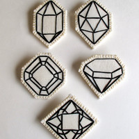 Geometric brooch hand embroidered faux gem outlined in black choose one