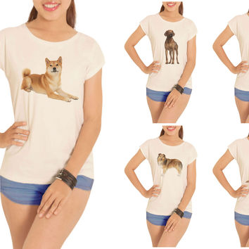 Women Dogs-5 Printed Cotton Short Sleeves T- Shirt WTS_02