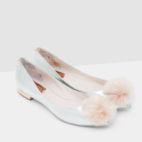Pom-pom pointed flats - Silver Colour | Footwear | Ted Baker UK