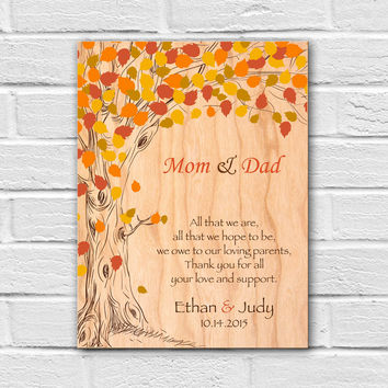 Thank You Parents Wedding Gift, Wedding Gift for Parents, Mom and Dad Wedding Gift, Wedding Wall Art, Groom Parents Gift, Bride Parents Gift
