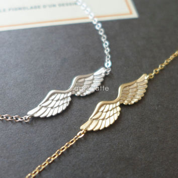 angel wings bracelet in gold or silver, guardian angel bracelet, angel wing jewelry