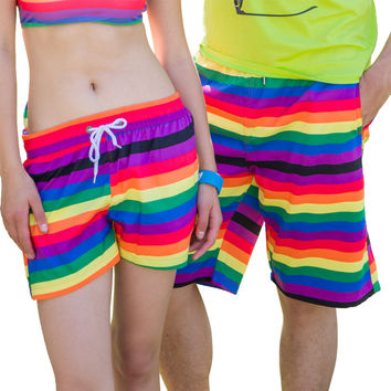 KISSyuer Quick-drying Colorful rainbow stripe drawing painting Ladies shorts for beach Couple women Board shorts KBS1204
