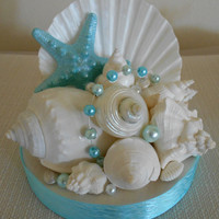 Beach Wedding Cake Topper, Starfish and Shells, Beach Wedding Decor, Wedding Decor, Beach Decor