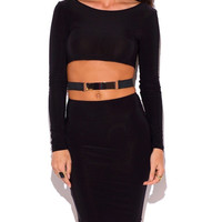 Cut Out Waist Belted Long Sleeve Form Fitting Dress in Black