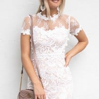 Happy Feeling White Crochet Lace Dress