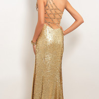 One Shoulder Sequin Prom Gown by Blush 9553
