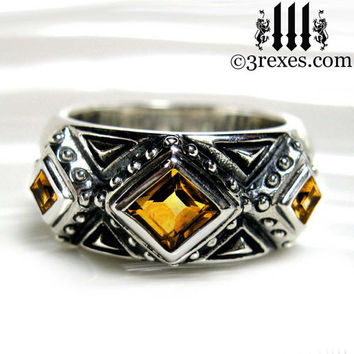 3 Kings Wedding Ring Mens Medieval Band Orange Citrine Sterling Silver Size 10
