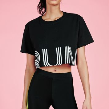 Missguided - active run cropped gym top black
