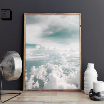 cloud photography, clouds print, sky wall art, clouds art print, sky photo print, instant download, digital art print, nature photography