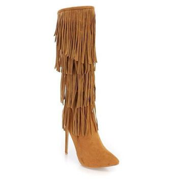 Women's Brown Faux Suede Retro Fringe High Boots