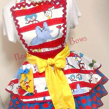 Womens Dr. Suess Apron, Womens Flirty Hostess Apron,  Womens Aprons, Teachers, Cat in the Hat Apron