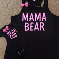 Momma Bear & Bear Cub Set - Mommy and Baby matching outfit - Glitter - Baby Bodysuit - Mom Tank - Ruffles With Love - RWL Kids
