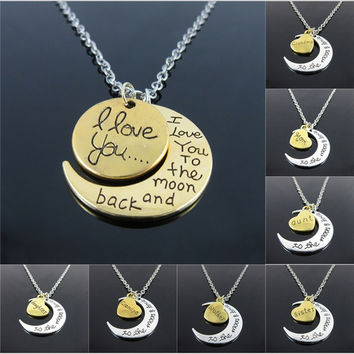 "Hot Fashion Silver White Tone ""I Love You To The Moon and Back"" Couples Love Family Moon   Pendant  Necklace Jewelry Chain Choker = 1929918788"