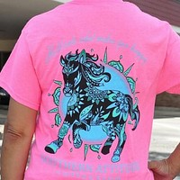 Southern Attitude Preppy Wild Horse Pink T-Shirt