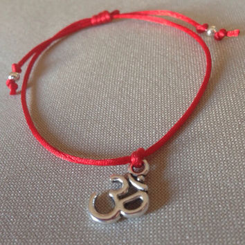 Red rattail silk cord bracelet with Om silver by Zenergystone