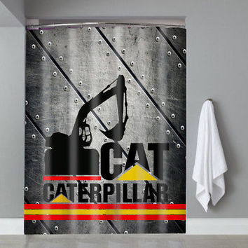 Hot Famous Stripe Cat Caterpillar Logo Custom Shower Curtain Limited Edition