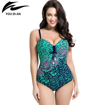 Womens Plus Size One Piece Swimsuit Swimwear Padded Monokini women Bathing Suits Large Bust Swimsuits