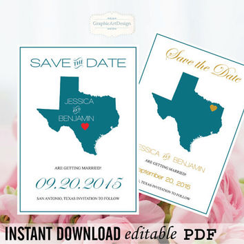 Texas State Map Save the Date Editable PDF Templates - Texas Peacock State Map Save the Date Printable Instant Download DIY You Print