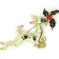 Vintage Gold Plated Deer Brooch, Christmas Pin, 1960s Jewelry