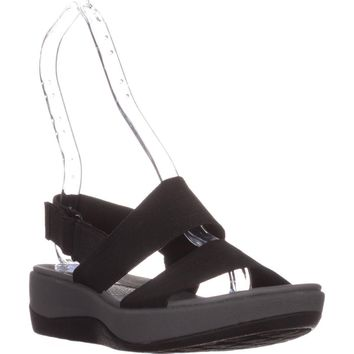 Clarks Arla Jacory Cloudstepper Wedge Sandals, Black, 5.5 US / 35.5 EU