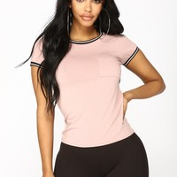 She's Loving The Crew Neck Tee - Mauve