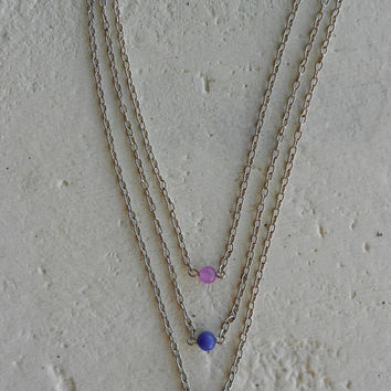 Layered Necklace with Amethyst Stones+Silverplated Chains! ~Twilight Berries~ Delicate Minimal Elvish Romantic Necklace in Violet+Purple!