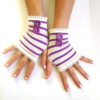 Striped gloves free shipping purple ivory fingerless arm warmers