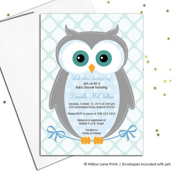 Unique baby shower invitations - owl baby shower invite - baby boy - blue, gray and aqua baby shower - DIY printable or printed - WLP00784