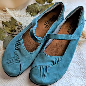 Naot Teal Suede Leather Maryjane Womens Shoe Size 39