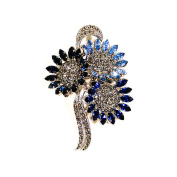 Sapphire Blue Rinestone Flower Brooch, Made in Austria, Vintage, Something Blue
