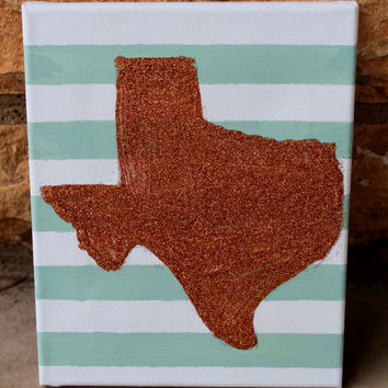 Glitter Texas State Love // stripes and glitter // 8x10 11x14 16x20 stretched canvas // MADE TO ORDER