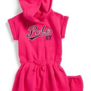 Infant Girl's Ralph Lauren Hooded Sweatshirt Dress & Bloomers,