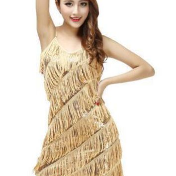 Sequin Sexy women stunning flapper fringe 1920s gold vintage great gatsby charleston sequin party latin dance dress plus size