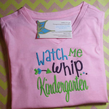 Kids tshirt, Back to School Personalized Preschool, Pre-K, Kindergarten Watch me Whip Embroidered a Shirt